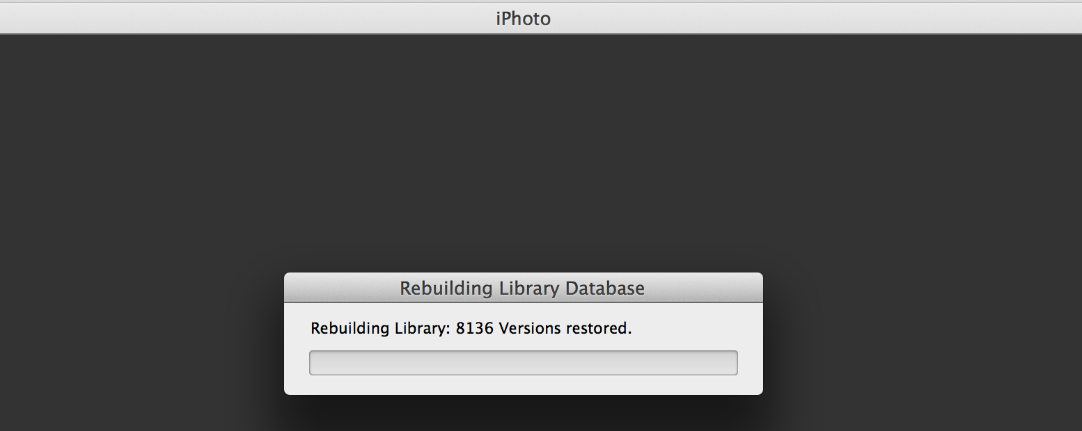 Screenshot of iPhoto repairing my library