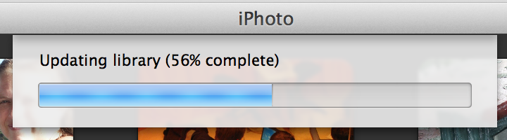 Screenshot of iPhoto updating my library